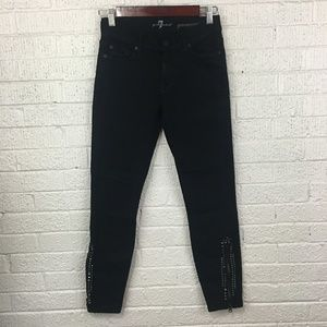 7 for all Mankind Gwenevere black jeans studded